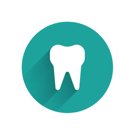 White Tooth icon isolated with long shadow. Tooth symbol for dentistry clinic or dentist medical center and toothpaste package. Green circle button. Vector Illustration. Ilustracja
