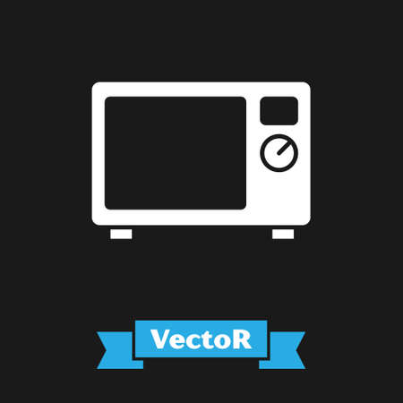 White Microwave oven icon isolated on black background. Home appliances icon. Vector.