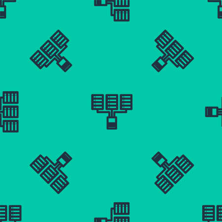 Blue line Server, Data, Web Hosting icon isolated seamless pattern on green background.  Vector Illustration.