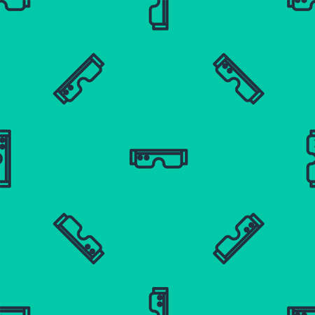 Blue line Smart glasses mounted on spectacles icon isolated seamless pattern on green background. Wearable electronics smart glasses with camera and display. Vector Illustration. 일러스트