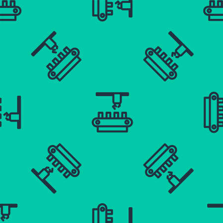 Blue line Factory conveyor system belt icon isolated seamless pattern on green background. Robot industry concept. Vector Illustration. 일러스트