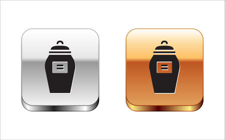 Black Funeral urn icon isolated on white background. Cremation and burial containers, columbarium vases, jars and pots with ashes. Silver-gold square button. Vector.