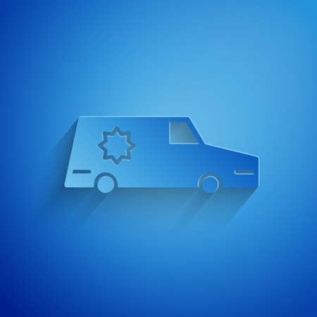 Paper cut Hearse car icon isolated on blue background. Paper art style. Vector.