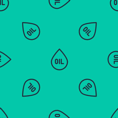 Blue line Oil drop icon isolated seamless pattern on green background. Vector Illustration. Stock fotó - 151149772