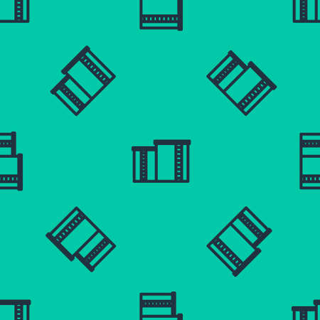 Blue line Oil and gas industrial factory building icon isolated seamless pattern on green background. Vector Illustration.