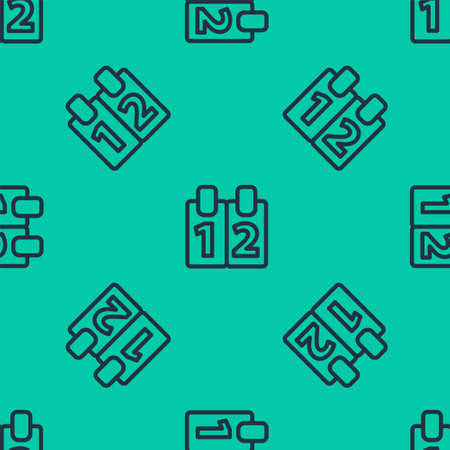 Blue line Mathematics function cosine icon isolated seamless pattern on green background. Vector Illustration.