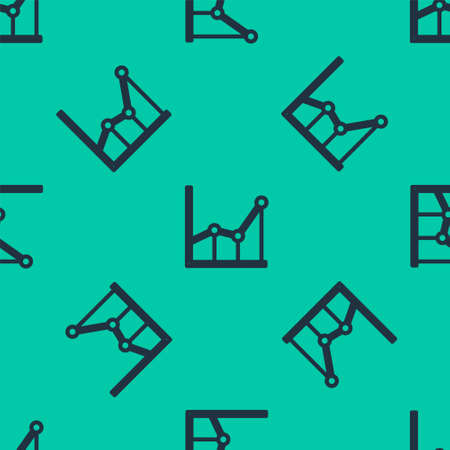 Blue line Sigma symbol icon isolated seamless pattern on green background. Vector Illustration. Vettoriali