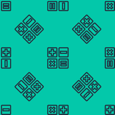 Blue line Feather and inkwell icon isolated seamless pattern on green background. Vector Illustration.
