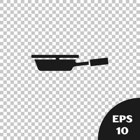 Black Frying pan icon isolated on transparent background. Fry or roast food symbol. Vector. Illusztráció
