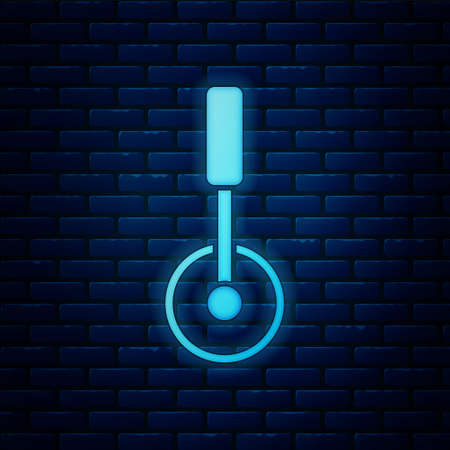 Glowing neon Pizza knife icon isolated on brick wall background. Pizza cutter sign. Steel kitchenware equipment. Vector. Illusztráció