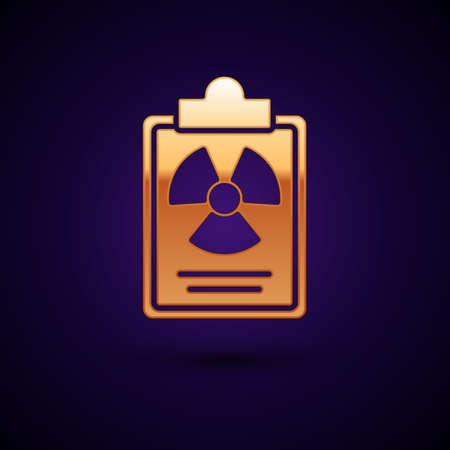 Gold Radiation warning document icon isolated on black background. Text file. Vector.