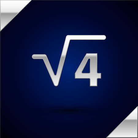 Silver Square root of 4 glyph icon isolated on dark blue background. Mathematical expression. Vector. Vettoriali