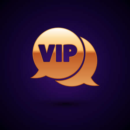 Gold Vip in speech bubble icon isolated on black background.  Vector.