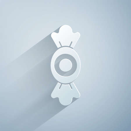 Paper cut Candy icon isolated on grey background. Paper art style. Vector.