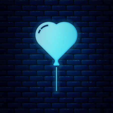 Glowing neon Balloon in form of heart with ribbon icon isolated on brick wall background. Valentines day.  Vector.