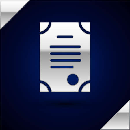 Silver Death certificate icon isolated on dark blue background.  Vector.
