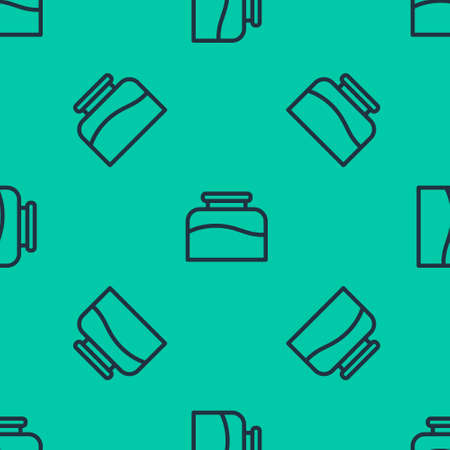 Blue line Inkwell icon isolated seamless pattern on green background. Vector Illustration.