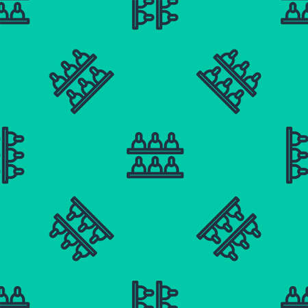 Blue line Jurors icon isolated seamless pattern on green background. Vector Illustration.
