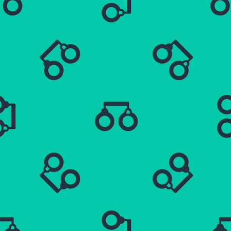 Blue line Handcuffs icon isolated seamless pattern on green background. Vector Illustration.