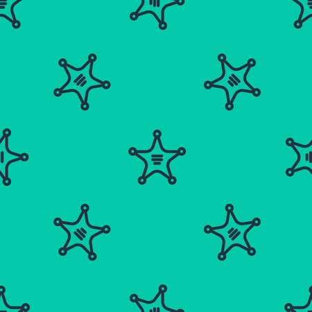 Blue line Hexagram sheriff icon isolated seamless pattern on green background. Police badge icon. Vector Illustration.