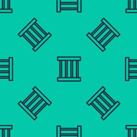 Blue line Prison window icon isolated seamless pattern on green background. Vector Illustration. 일러스트