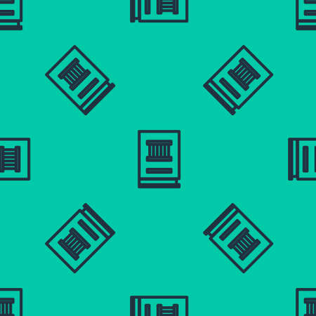 Blue line Law book icon isolated seamless pattern on green background. Legal judge book. Judgment concept. Vector Illustration.