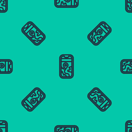 Blue line Infographic of city map navigation icon isolated seamless pattern on green background. Mobile App Interface concept design. Geolacation concept. Vector Illustration. Stock Illustratie