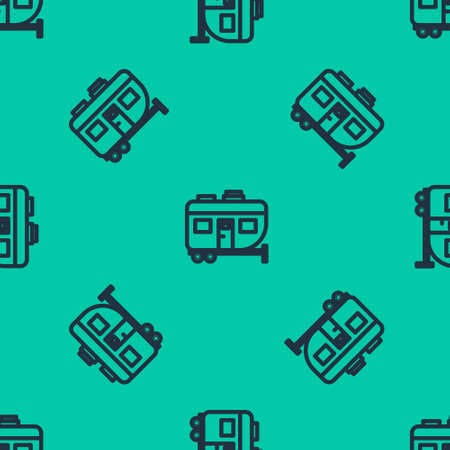 Blue line Rv Camping trailer icon isolated seamless pattern on green background. Travel mobile home, caravan, home camper for travel. Vector Illustration.