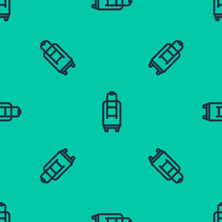 Blue line Suitcase for travel icon isolated seamless pattern on green background. Traveling baggage sign. Travel luggage icon. Vector Illustration.