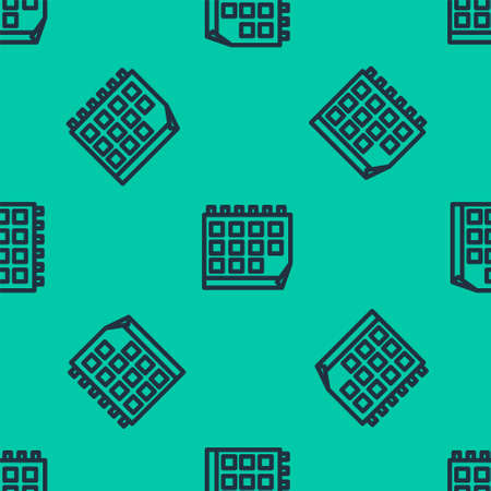Blue line Calendar icon isolated seamless pattern on green background. Event reminder symbol. Vector Illustration.