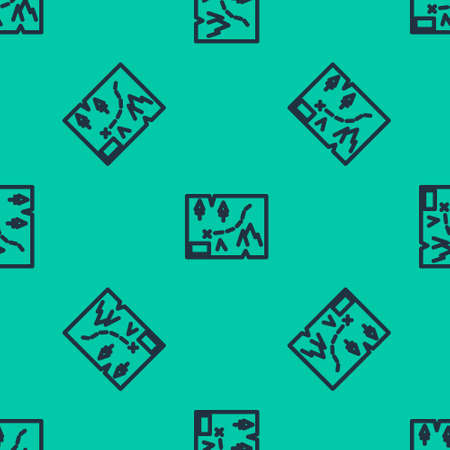 Blue line Folded map with location marker icon isolated seamless pattern on green background. Vector Illustration.