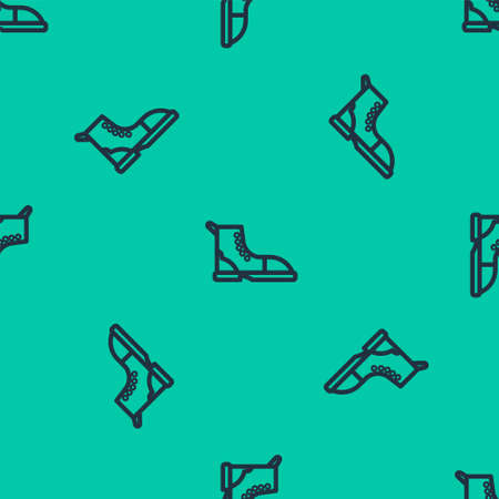 Blue line Hiking boot icon isolated seamless pattern on green background. Vector Illustration.