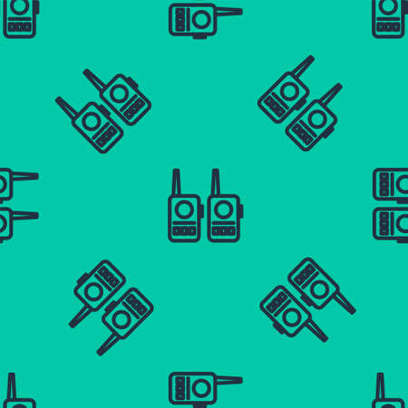 Blue line Walkie talkie icon isolated seamless pattern on green background. Portable radio transmitter icon. Radio transceiver sign. Vector Illustration.