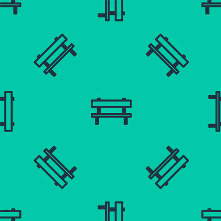 Blue line Bench icon isolated seamless pattern on green background. Vector Illustration.