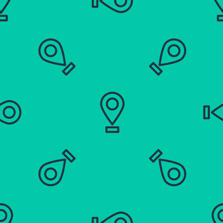 Blue line Map pin icon isolated seamless pattern on green background. Navigation, pointer, location, map, gps, direction, place, compass, search concept. Vector Illustration.