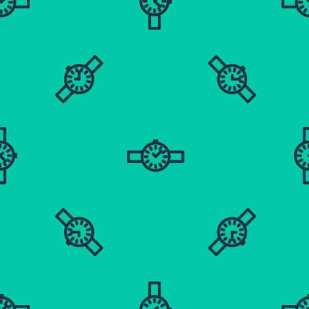 Blue line Wrist watch icon isolated seamless pattern on green background. Wristwatch icon. Vector Illustration. Çizim