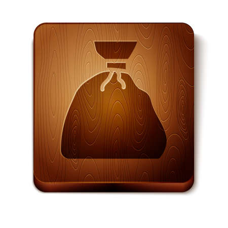 Brown Garbage bag icon isolated on white background. Wooden square button. Vector Illustration.