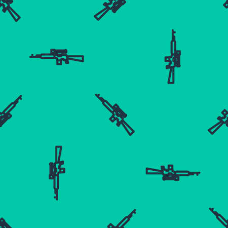 Blue line Sniper rifle with scope icon isolated seamless pattern on green background. Vector Illustration.
