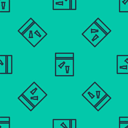 Blue line Evidence bag and bullet icon isolated seamless pattern on green background. Vector Illustration.