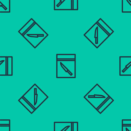 Blue line Evidence bag and knife icon isolated seamless pattern on green background. Vector Illustration. Illustration