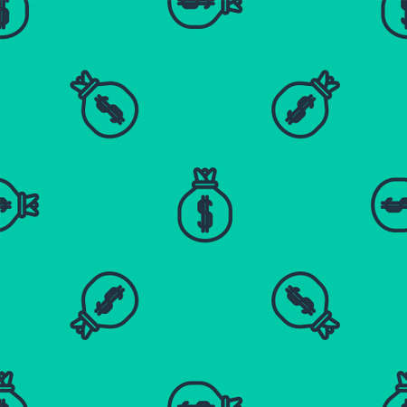 Blue line Money bag icon isolated seamless pattern on green background. Dollar or USD symbol. Cash Banking currency sign. Vector Illustration.