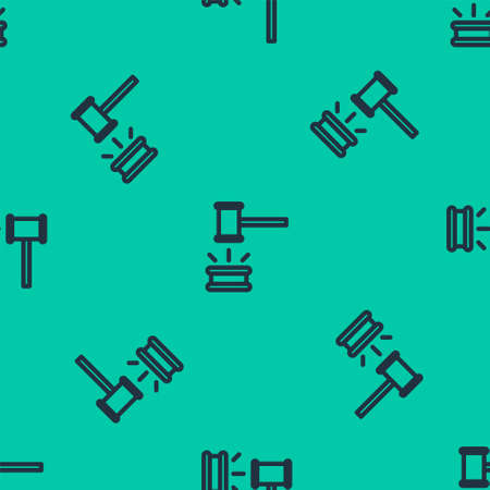 Blue line Judge gavel icon isolated seamless pattern on green background. Gavel for adjudication of sentences and bills, court, justice. Auction hammer. Vector Illustration.