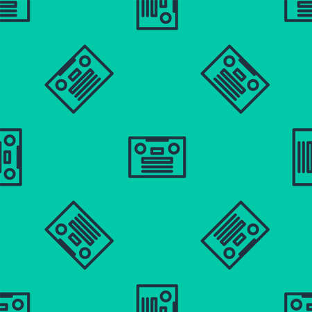 Blue line Retro audio cassette tape icon isolated seamless pattern on green background. Vector Illustration. 일러스트