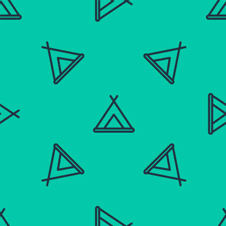 Blue line Tourist tent icon isolated seamless pattern on green background. Camping symbol. Vector Illustration.