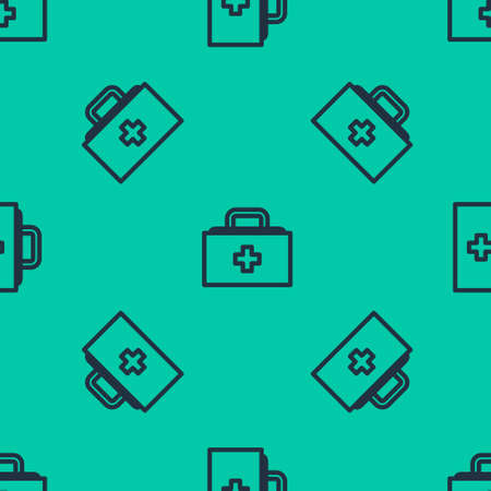 Blue line First aid kit icon isolated seamless pattern on green background. Medical box with cross. Medical equipment for emergency. Healthcare concept. Vector Illustration. Ilustracja