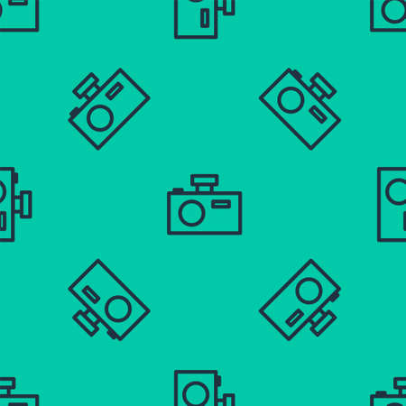 Blue line Photo camera icon isolated seamless pattern on green background. Foto camera icon. Vector Illustration. Stock Illustratie