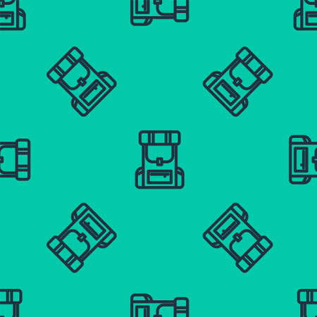 Blue line Hiking backpack icon isolated seamless pattern on green background. Camping and mountain exploring backpack. Vector Illustration.