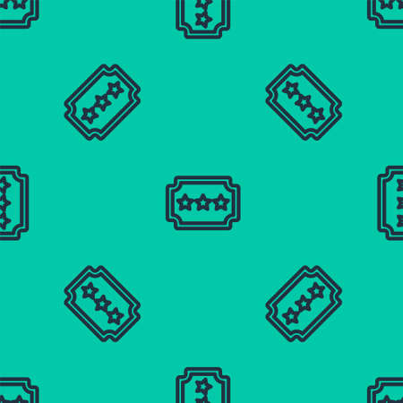Blue line Ticket icon isolated seamless pattern on green background. Amusement park. Vector Illustration.