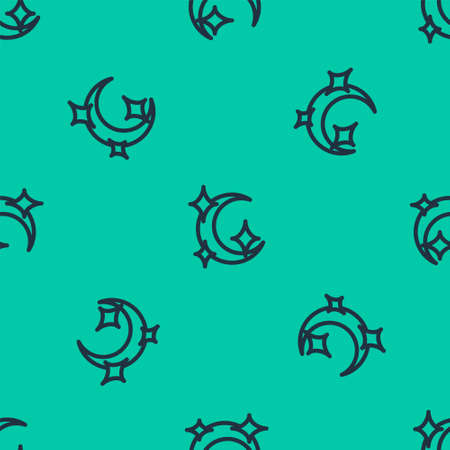 Blue line Moon and stars icon isolated seamless pattern on green background. Vector Illustration.