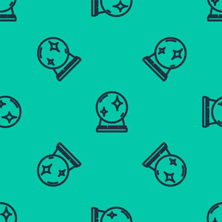 Blue line Magic ball icon isolated seamless pattern on green background. Crystal ball. Vector Illustration.